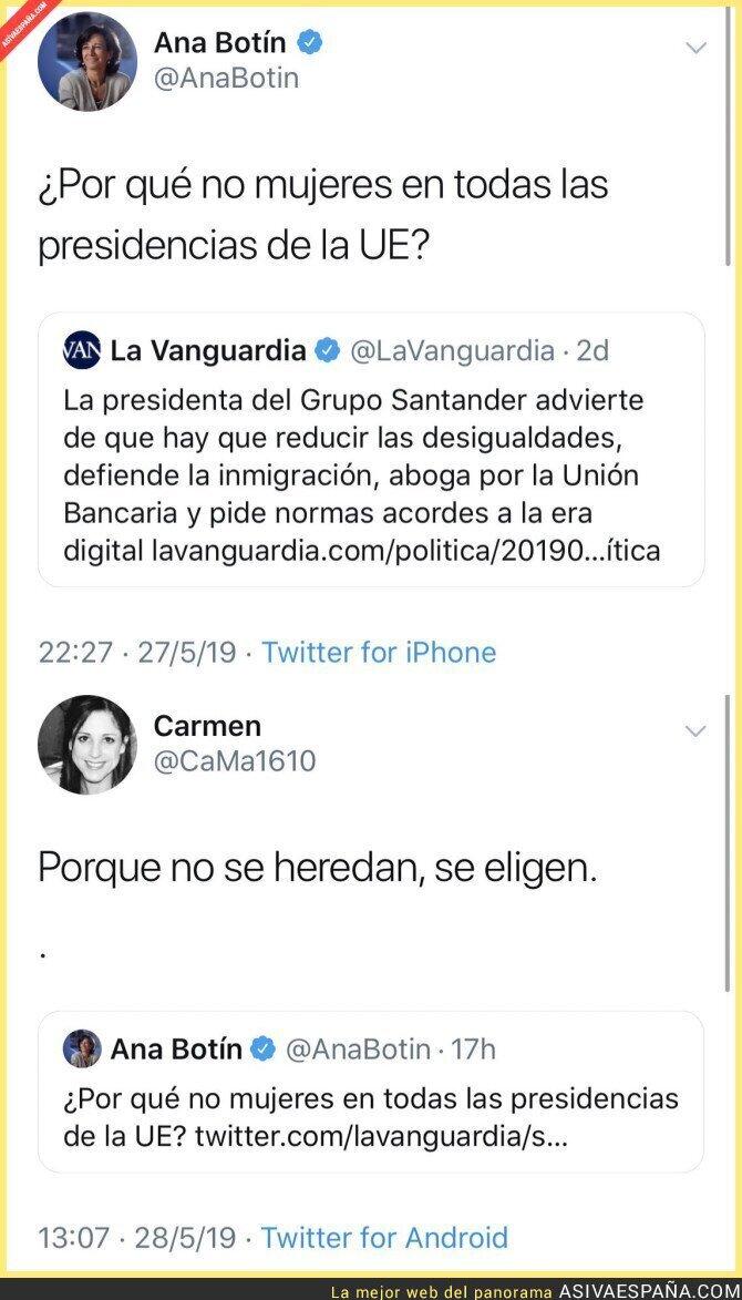 113344 - Ana Botín pide presidentas en Europa y el callan la boca de la mejor forma