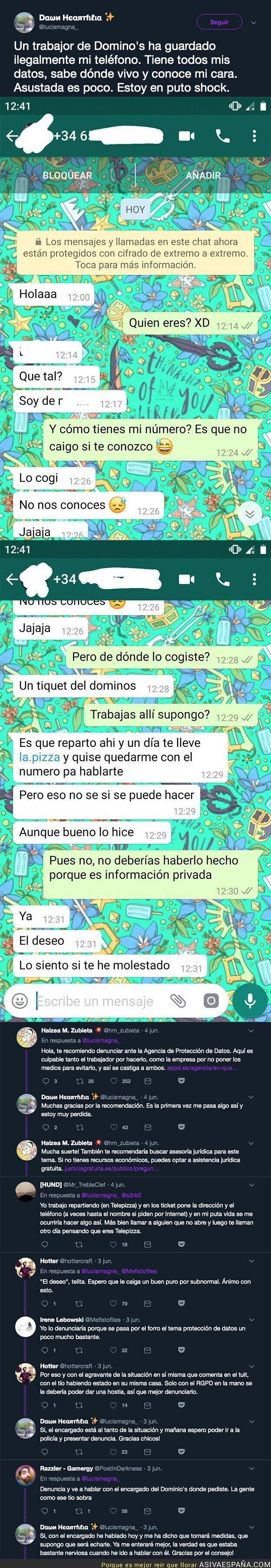 113689 - La denuncia de esta chica al recibir estos mensajes de un repartidor del Domino's Pizza