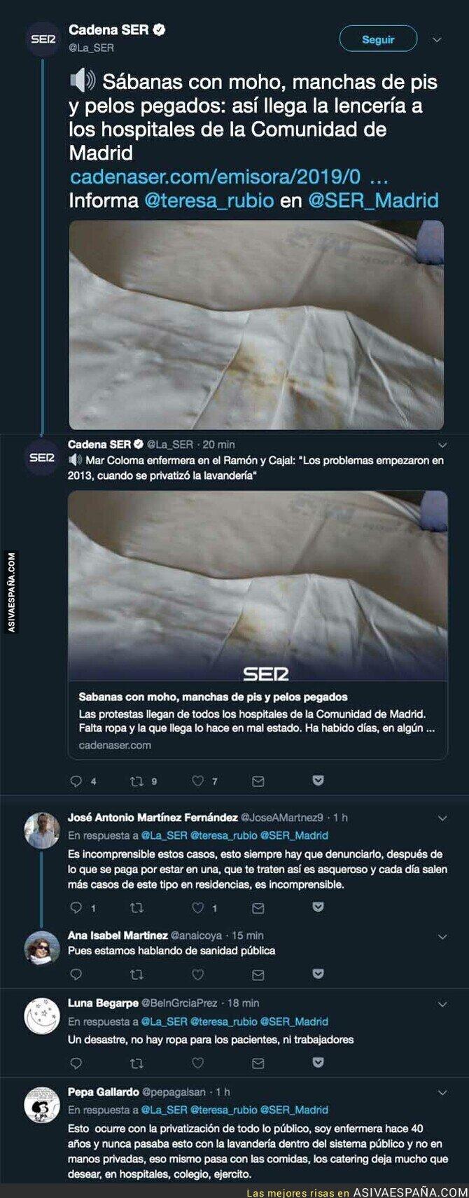 113699 - La extrema suciedad de la lencería en los hospitales privatizados de la Comunidad de Madrid