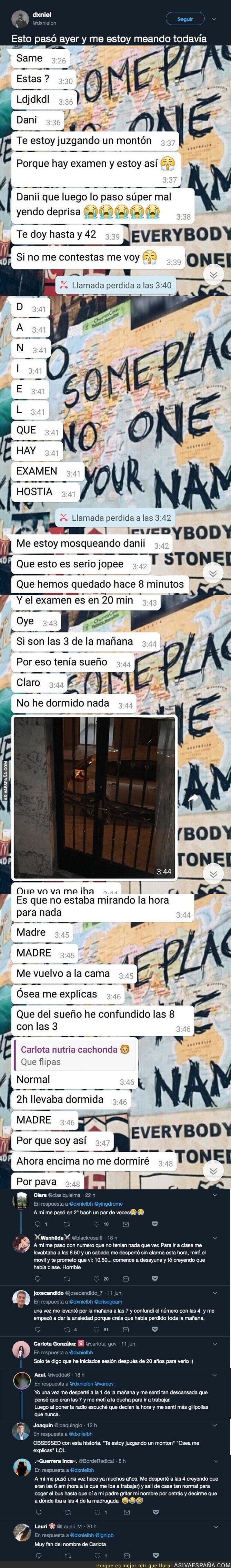 114150 - Esta estudiante la lía parda al confundirse de la hora para el examen y estos mensajes le mandó a su compañero
