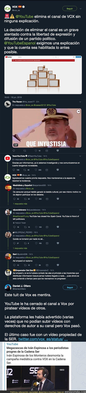 114647 - El motivo real por el que Youtube le ha cerrado el canal a VOX de forma permanente