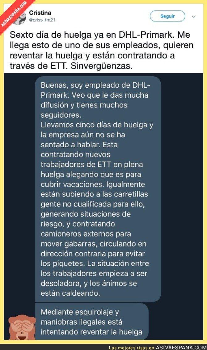 114736 - Los trabajadores de DHL-PRIMARK denuncian como están intentando reventarle la huelga