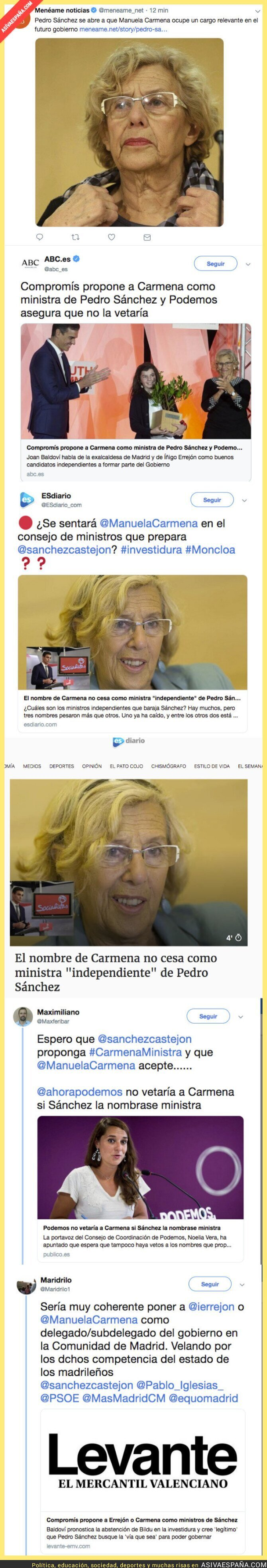 114829 - Varios medios apuntan a que Carmena podría ser ministra de Pedro Sánchez