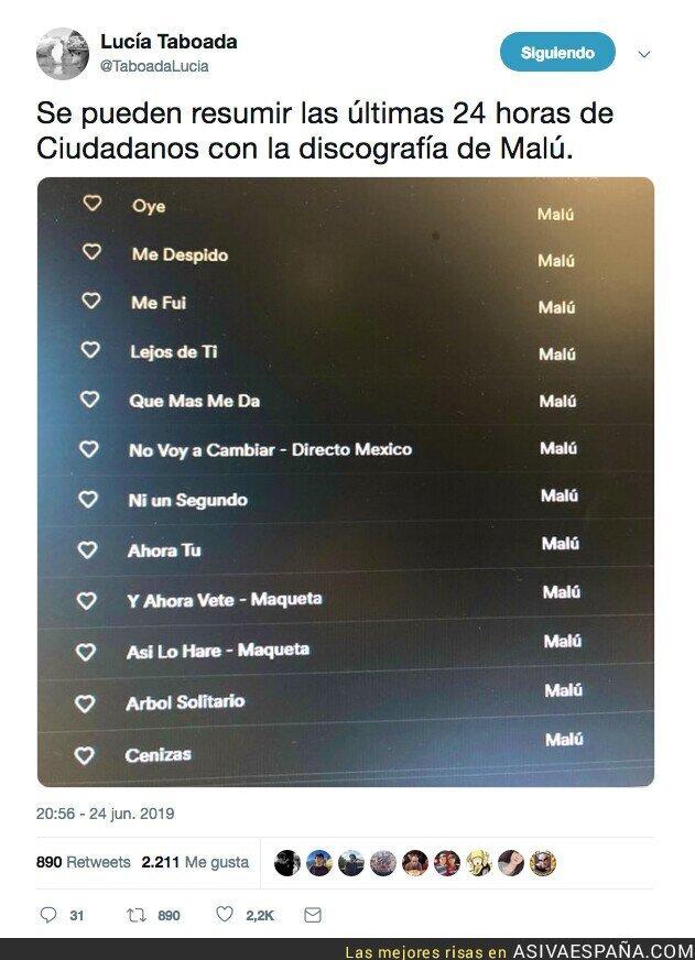 115069 - La lista de Spotify de Malú que predijo lo que está pasando en Ciudadanos