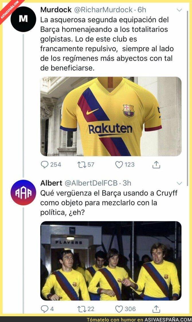 116115 - Acusa al Barça de sacar una camiseta a favor de los presos políticos y se lleva un revés de gran magnitud