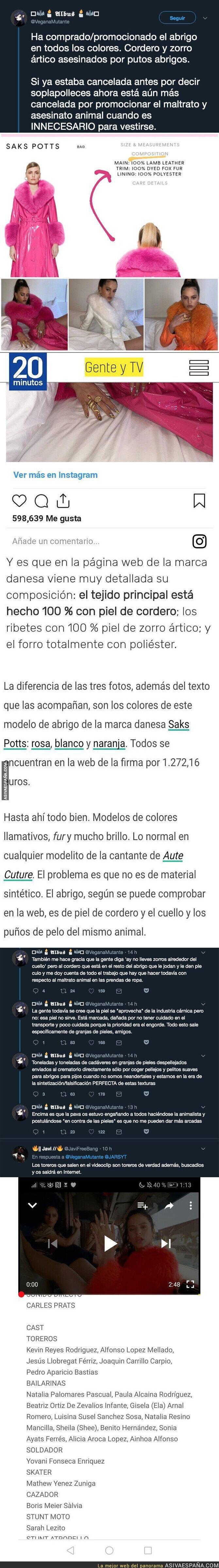 116204 - Gran polémica con la ropa que usa y promociona Rosalía en las redes sociales