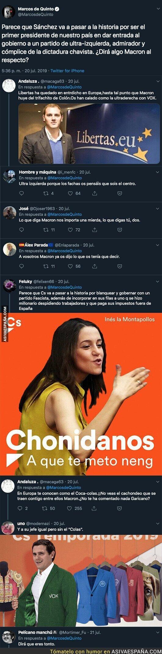 116962 - Marcos de Quinto consigue mezclar a Chávez, PSOE, Podemos y ultra izquierda en un solo tuit
