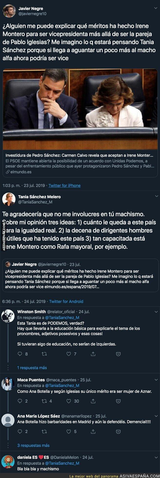 117361 - El periodista Javier Negre carga contra Irene Montero al querer ser vicepresidenta y Tania Sánchez le pega un ZASCA monumental