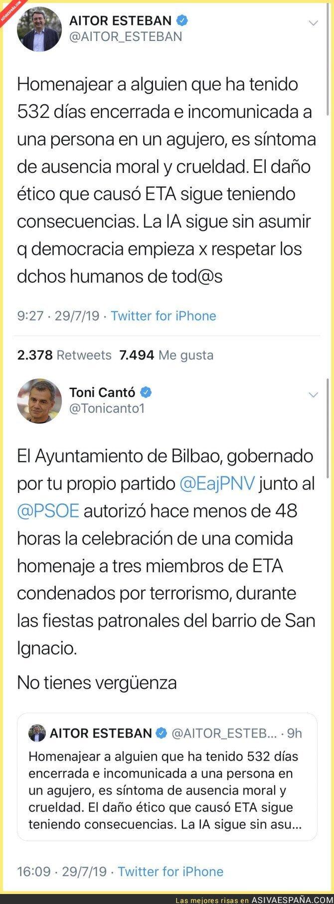 117634 - Toni Cantó le hace un pequeño recordatorio a Aitor Esteban