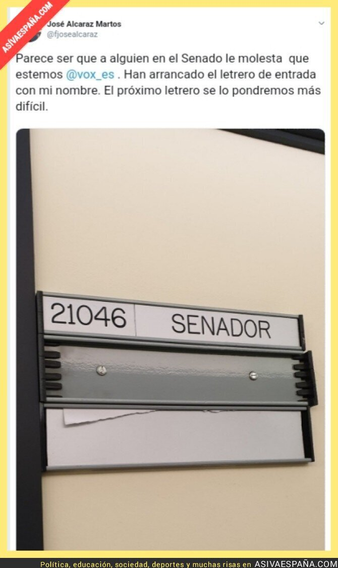 117839 - Cuando un periodista hace fotos al despacho de Irene Montero se lía, pero cuando senadores arrancan carteles en el Senado de VOX...