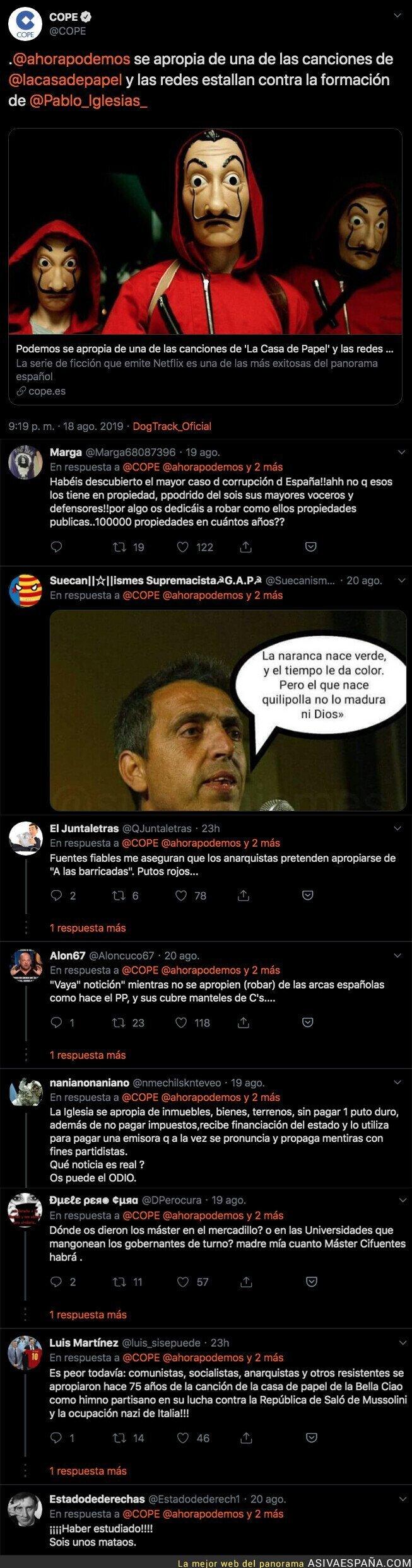 119129 - La COPE habla de apropiación de Podemos con la canción 'Bella Ciao' que aparece en La Casa de Papel
