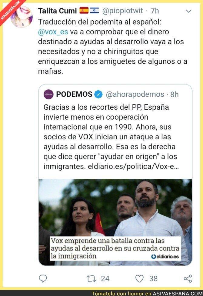 119320 - Tuiterx traduce noticia del podemita al español