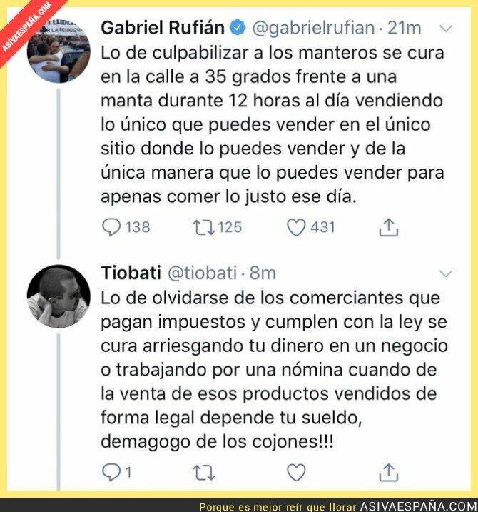 119387 - Un buen revés a Gabriel Rufián por el tema de los manteros en Barcelona