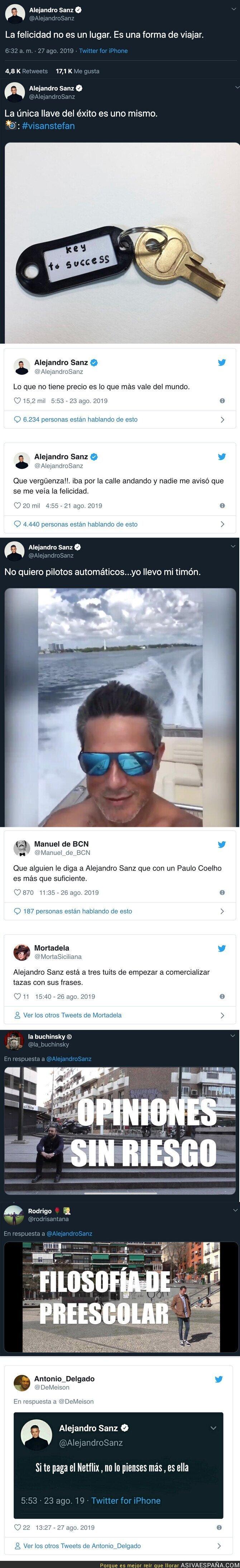 119783 - Todo el mundo se está riendo de Alejandro Sanz por los tuits filosóficos que está poniendo dignos de un niño de 10 años