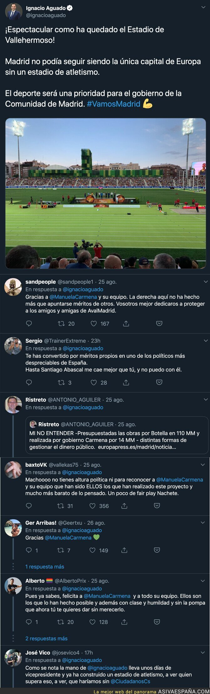 119787 - Ignacio Aguado se alegra de como ha quedado el estadio de atletismo en Madrid sin mencionar a Manuela Carmena