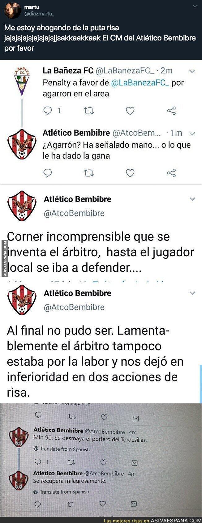 120258 - Todo el mundo se está partiendo de risa con los tuits que publica el CM del Atlético Bembibre durante los partidos