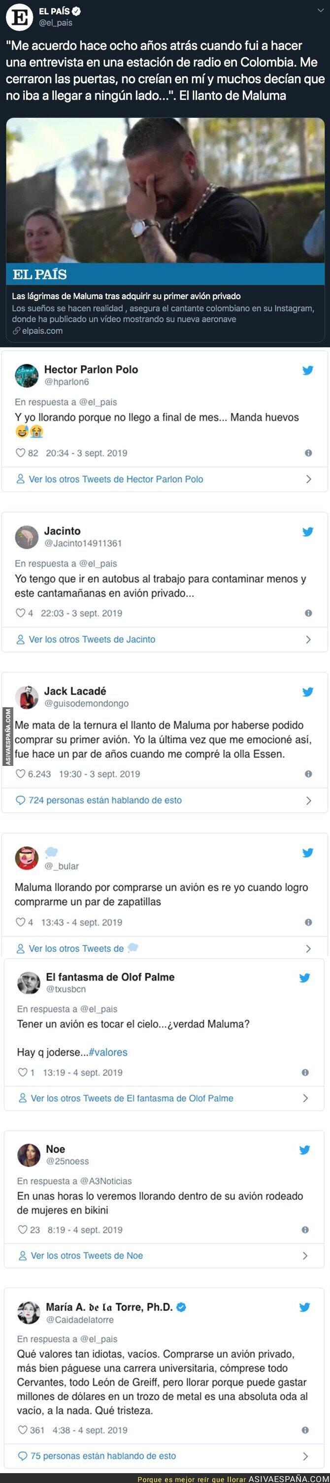 120395 - Fuertes críticas a Maluma tras emocionarse después de comprarse su primer avión privado