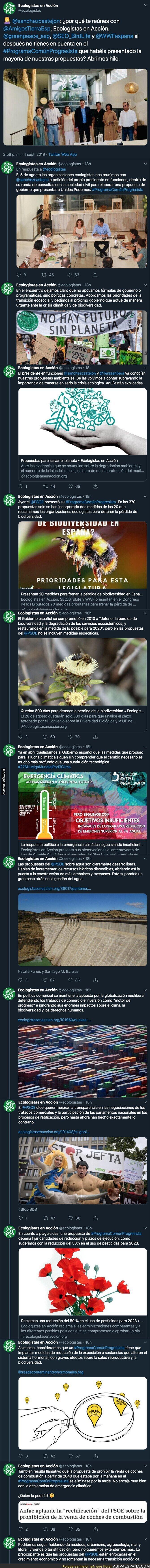 """120398 - Ecologistas en Acción le da un auténtico repaso a Pedro Sánchez por su """"Programa común progresista"""""""