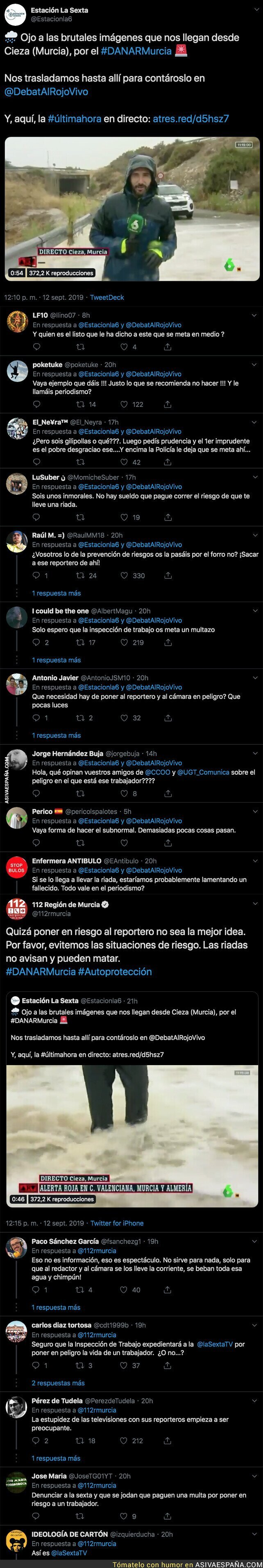 121020 - El '112' de Murcia llama la atención a 'La Sexta' por poner a un reportero en mitad de una gran riada