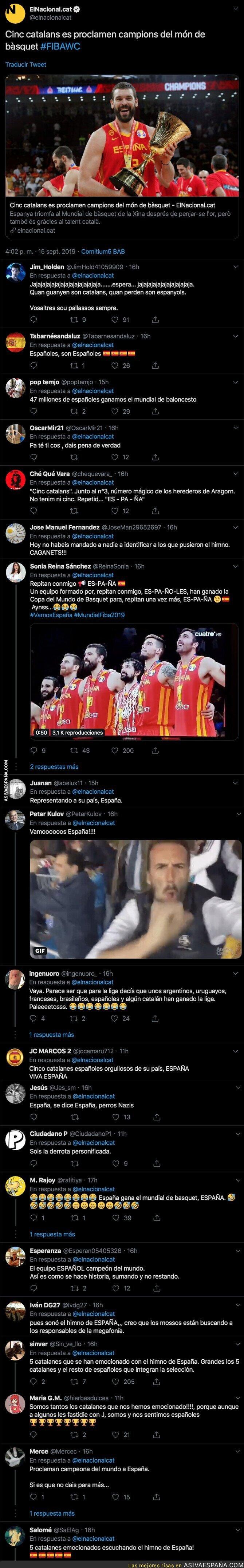 121203 - 'ElNacional.cat' habla de 5 catalanes campeones del Mundo de baloncesto y recibe una oleada de respuestas cachondeándose de ellos