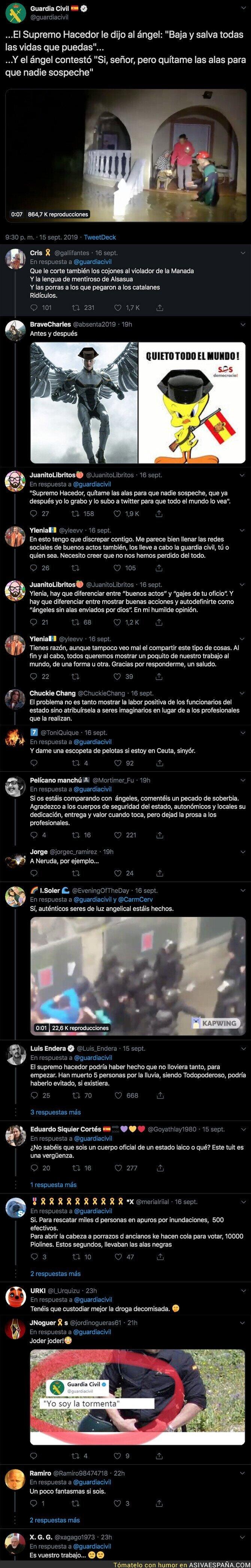 121258 - El lamentable tuit de la Guardia Civil tras la gota fría que ha inundado Valencia, Murcia y Andalucía con el que todo el mundo está alucinando