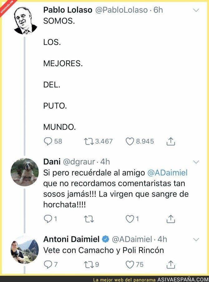 121288 - Antoni Daimiel le pega una gran respuesta a un espectador que critica su narración en el Mundial de baloncesto