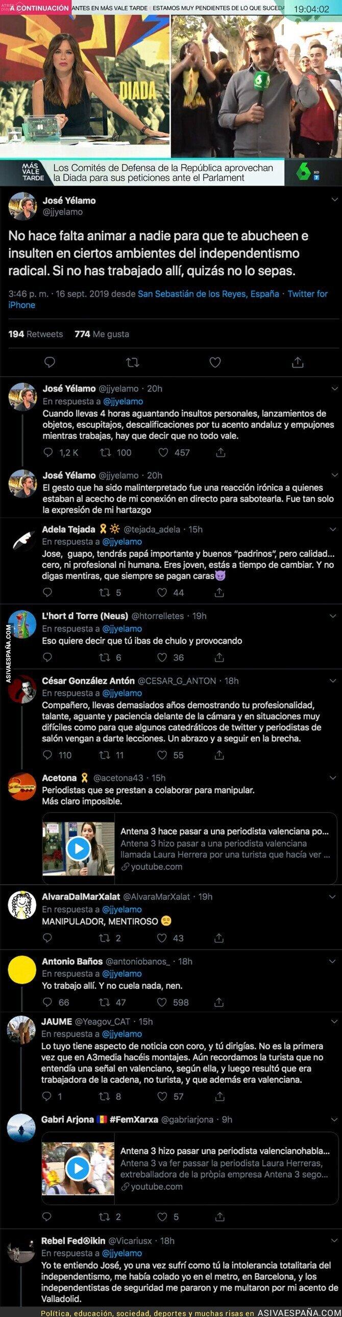 121300 - José Yélamo da explicaciones en tres tuits sobre lo ocurrido con los independentistas en Barcelona y absolutamente nadie le cree