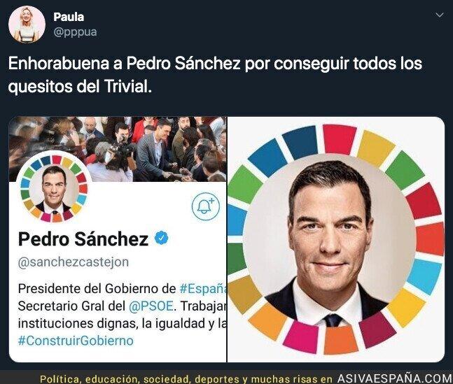 121367 - Pedro Sánchez se pone en el avatar los colores de todas las fuerzas políticas con las que no ha pactado