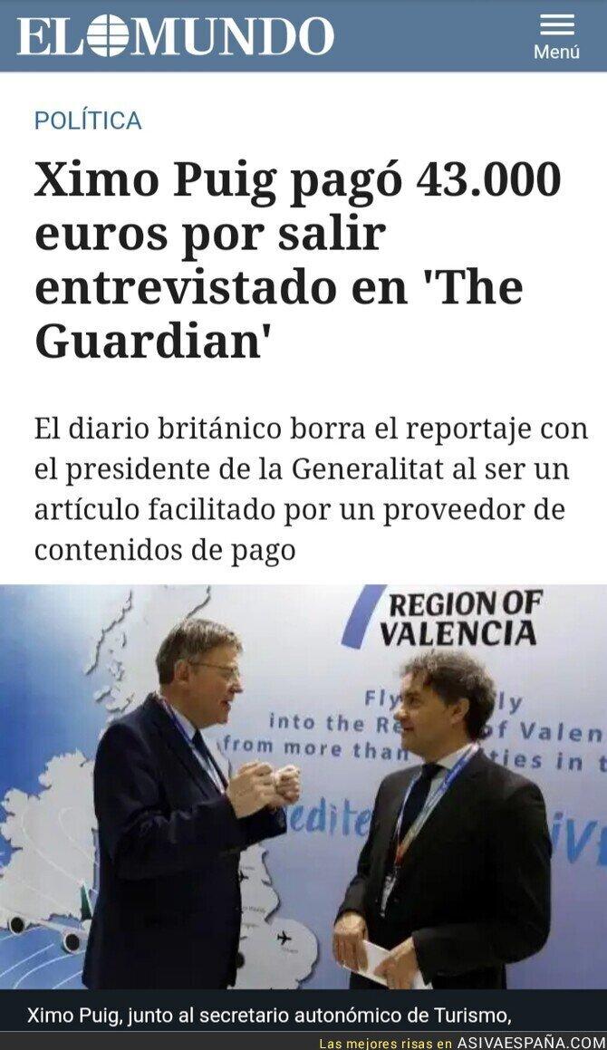121407 - Ximo Puig malversado el dinero de los valencianos en una entrevista