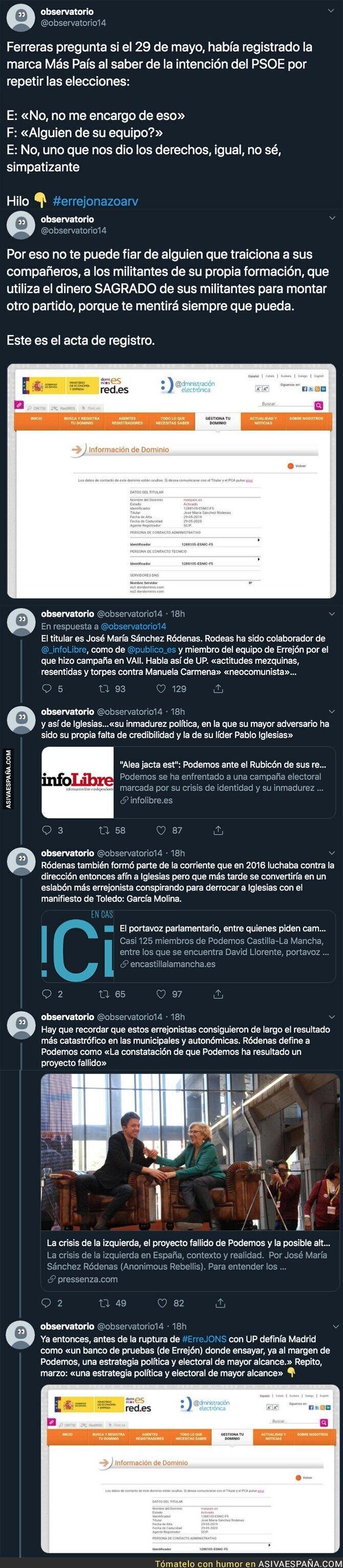 122156 - Íñigo Errejón ha mentido a todo el mundo y este fue el día que registró el dominio de su partido a nivel nacional