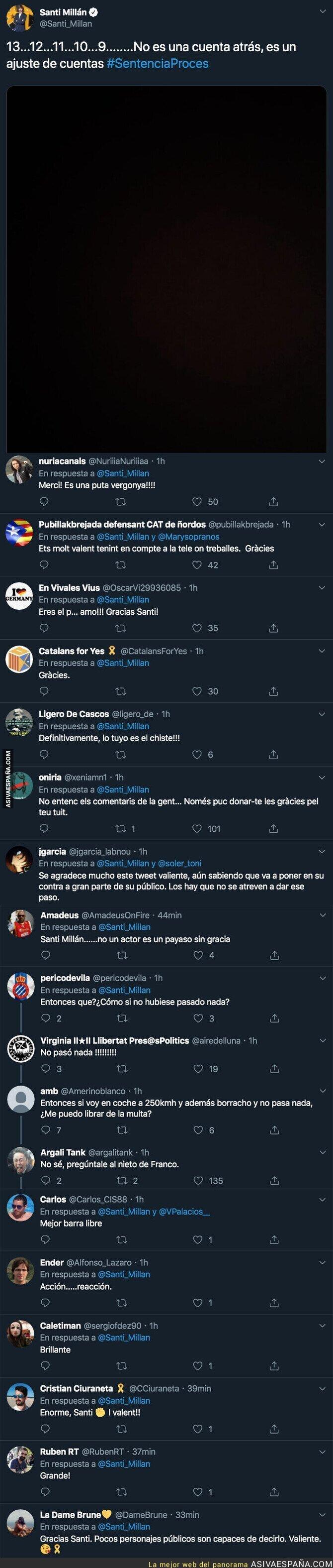 123667 - El valiente mensaje de Santi Millán, presentador de Got Talent en Telecinco, sobre la sentencia del Procés apoyando a los presos políticos