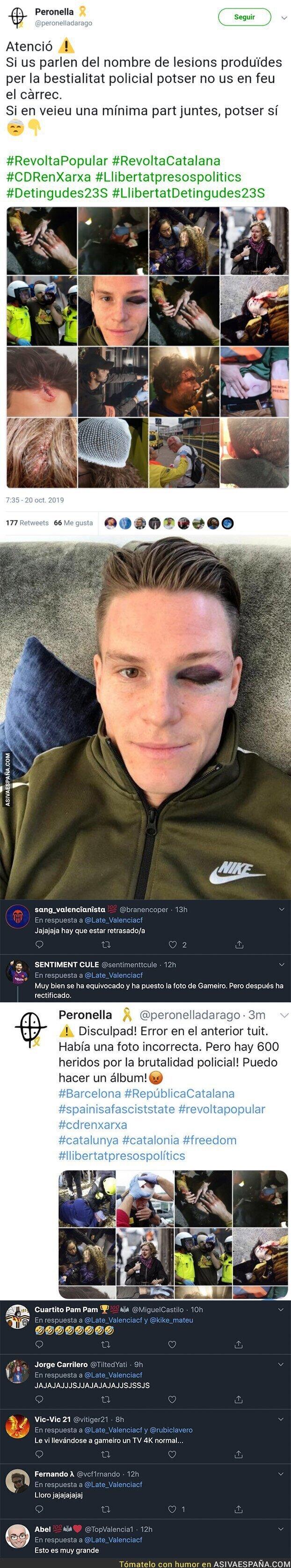 124571 - Tremendo: Un independentista denuncia con un recopilatorio de imágenes las agresiones en Barcelona y se le cuela una por la que todos se están riendo de él