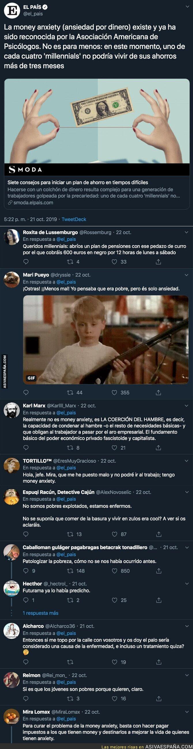 124935 - Fuertes críticas a 'El País' por hablar de 'money axiety' para patologizar la pobreza