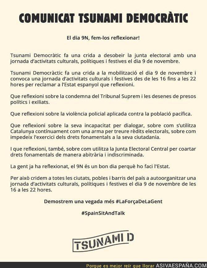 125713 - 'Tsunami Democràtic' llama a desobedecer a la junta electoral el 9 de noviembre
