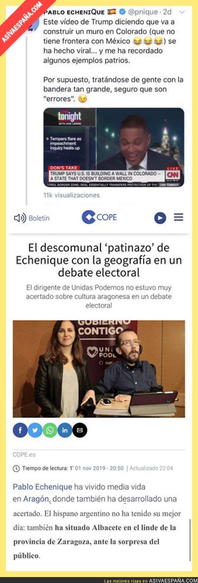 126021 - Pablo Echenique no está para reírse de la ignorancia geográfica de los demás