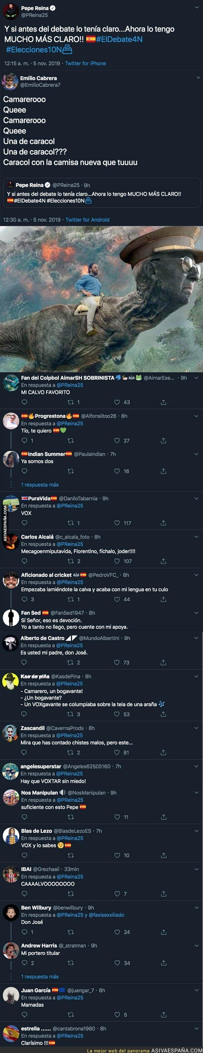126172 - El portero Pepe Reina anuncia su ideología política y a quien votará durante el Debate Electoral mientras discutían Santiago Abascal y Pablo Iglesias