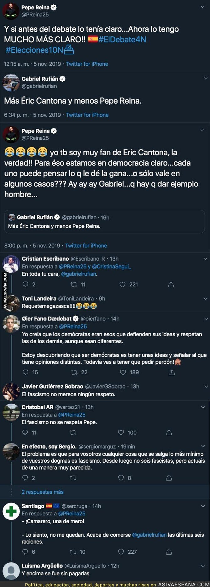 126298 - La brutal respuesta de Pepe Reina a Gabriel Rufián después de pedir