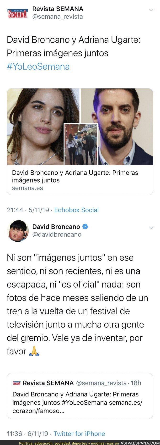 126378 - David Broncano responde de la mejor forma posible a la Revista SEMANA tras publicar estas fotos de él con Adriana Ugarte paseando por la calle