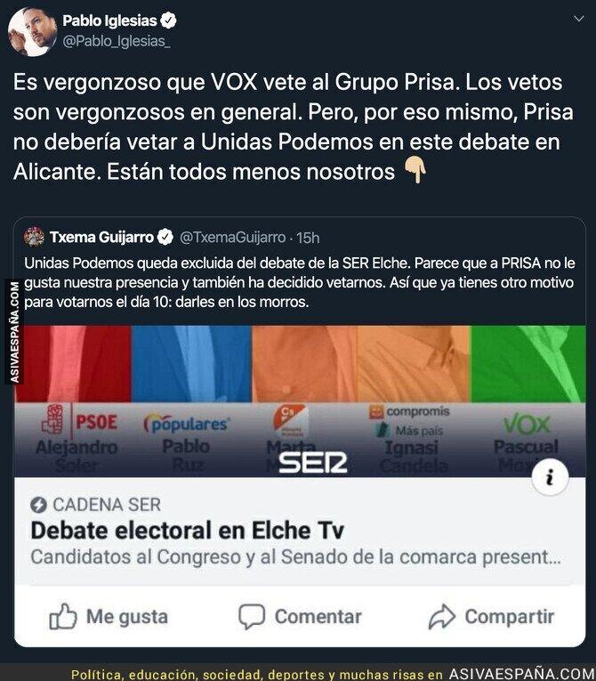 126383 - PRISA se queja de un veto de VOX y ellos son los primeros en hacerlo con Unidas Podemos