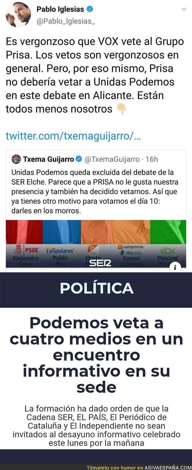 126504 - Podemos no es nadie para dar lecciones sobre vetos a medios de comunicación
