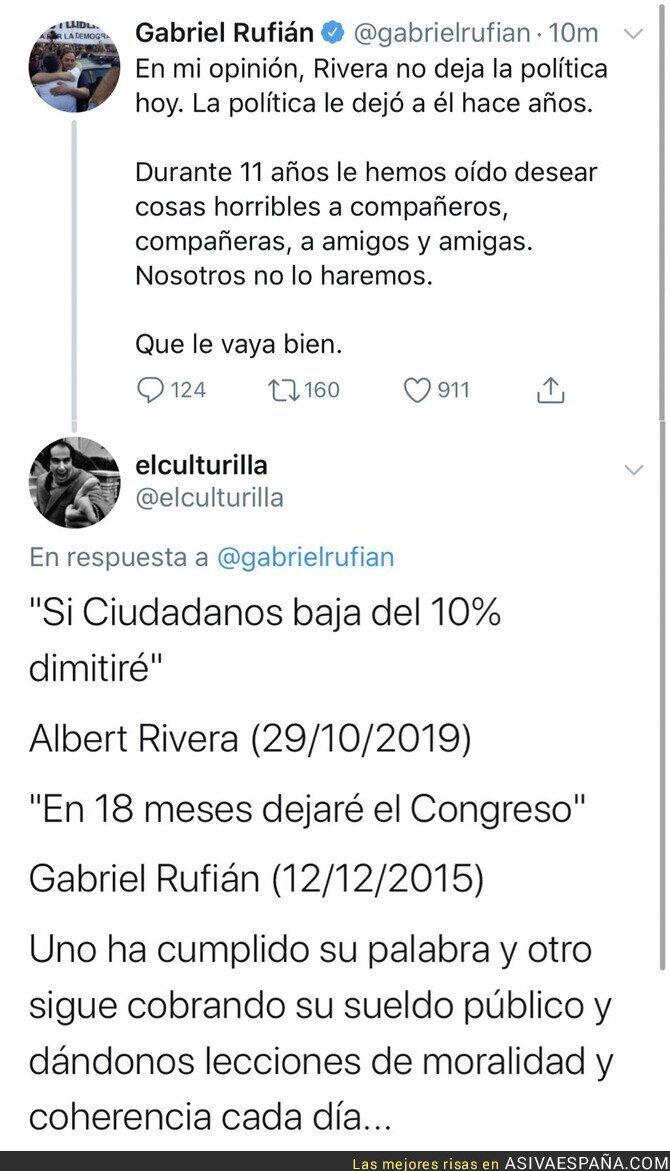 126834 - La gran clase de dignidad que le ha dado Albert Rivera a Gabriel Rufián