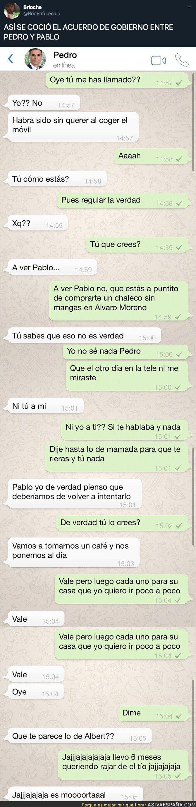 126889 - Se filtra como fue la conversación de WhatsApp entre Pedro Sánchez y Pablo Iglesias antes de alcanzar un acuerdo de Gobierno