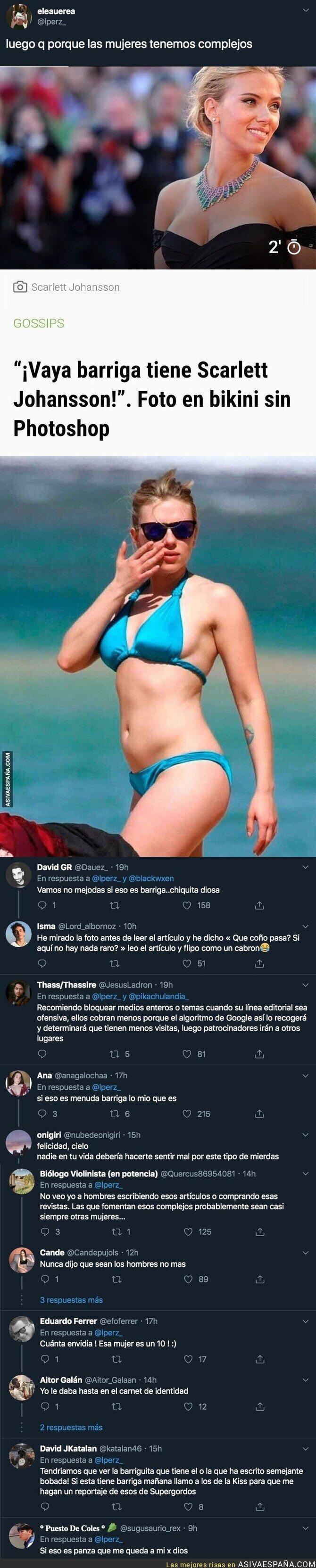 127723 - El lamentable artículo de 'diarioGOL' hablando que Scarlett Johansson tiene una barriga enorme adjuntando esta foto en la playa