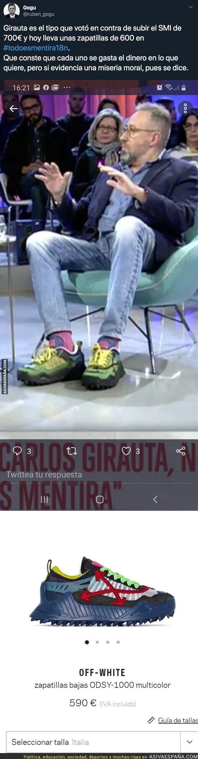 127731 - Esto es lo que se gasta Juan Carlos Girauta en zapatillas que lució en este programa mientras quiere que el resto de familias no cobre más