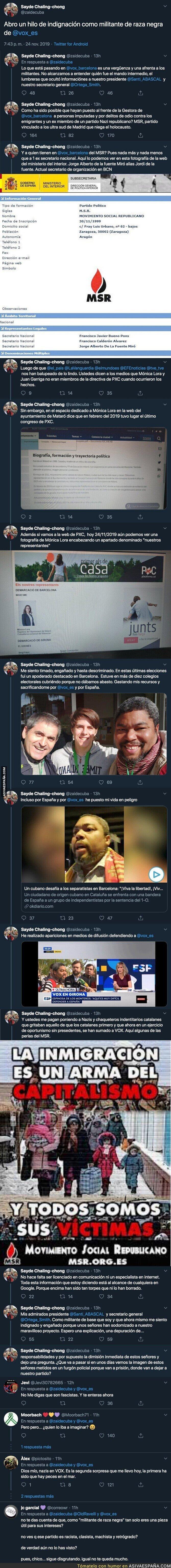 128191 - Militante de VOX muy conocido de raza negra descubre que en VOX son unos racistas y explica su situación en Twitter