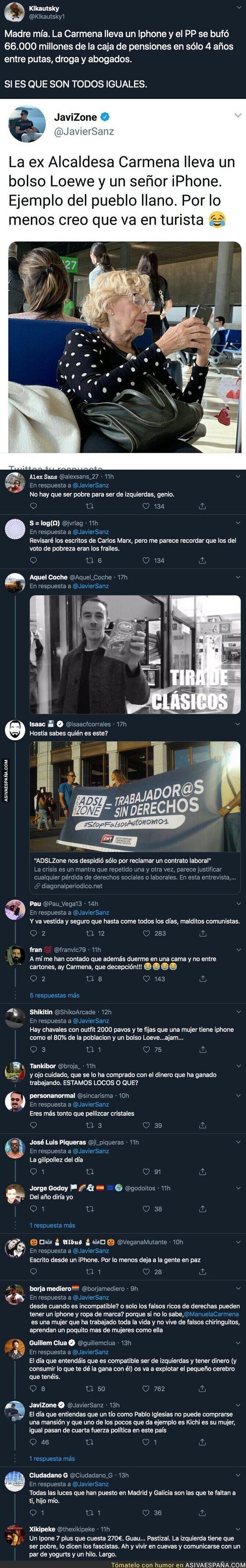 128296 - Javier Sanz, fundador de 'ADSLZone', carga contra Manuela Carmena por tener un iPhone un un bolso caro con este mensaje