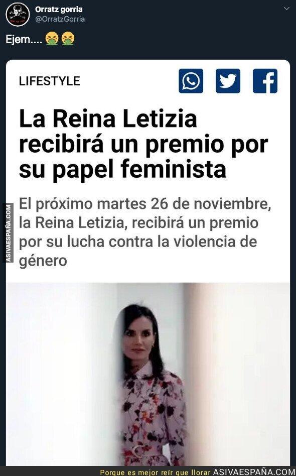 128326 - La Reina Letizia premiada por su papel feminista