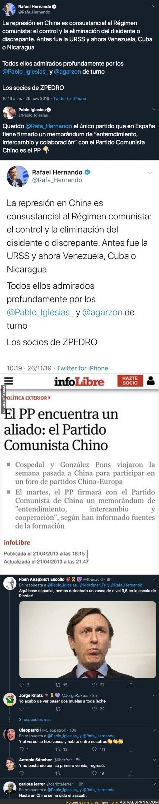 128414 - Rafael Hernando dice que la represión en China es admirada por Pablo Iglesias y el de Podemos le da un hachazo descomunal