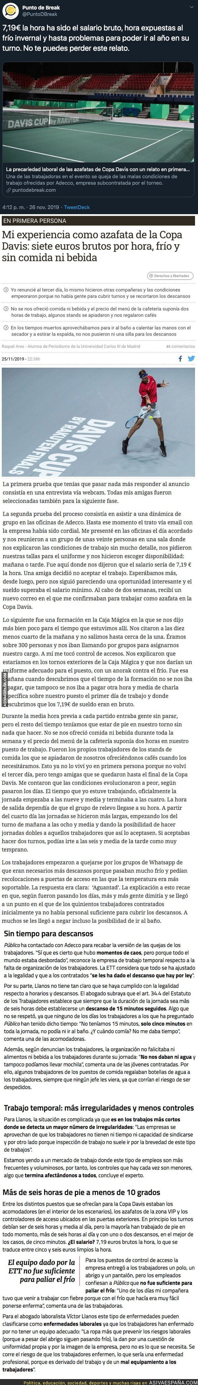 128443 - Estas son las lamentables condiciones laborales de los trabajadores de la Copa Davis de Piqué y el salario que les pagaban