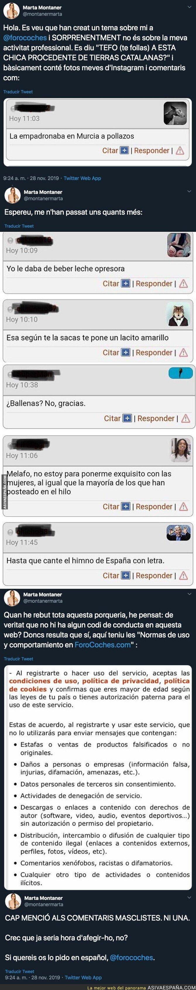 128530 - Los insultos repugnantes y terribles que está recibiendo por parte de 'Forocoches' esta periodista de 'Catalunya Radio'